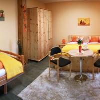 Barrierefreies Zimmer mit Doppel- und Pflegebett